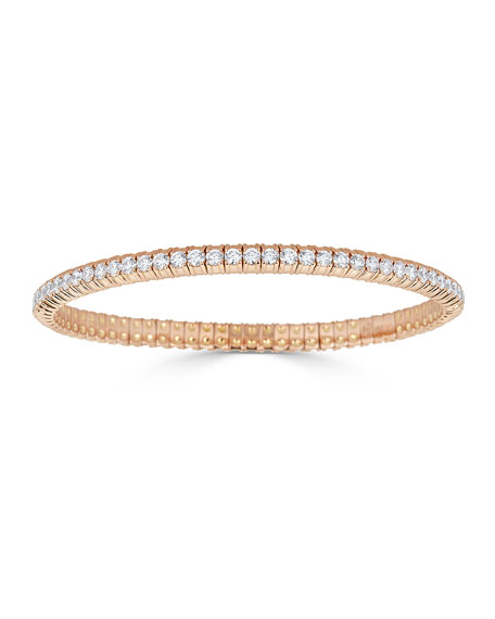 18k Rose Gold Stretch Diamond Bracelet, 3.8tcw