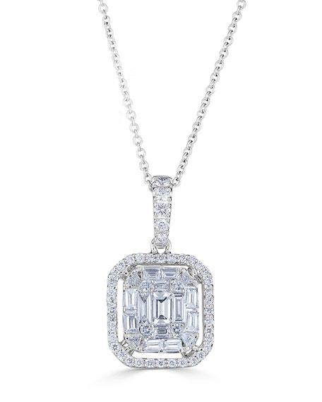 18k Mosaic Diamond Pendant Necklace, 1.05tcw