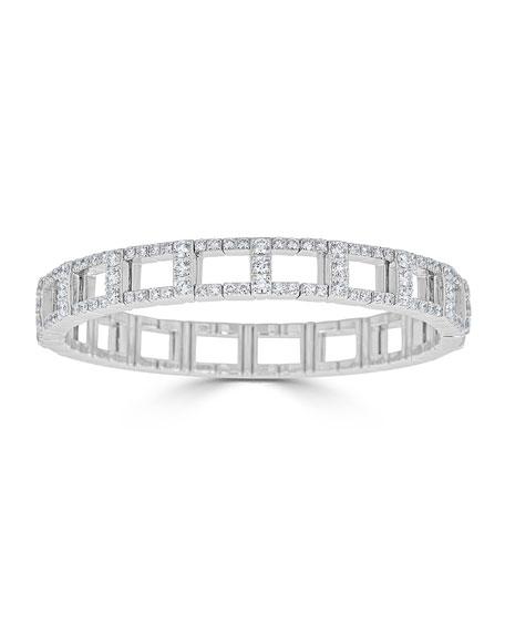 18k White Gold Stretch Link Bracelet w/ Diamonds