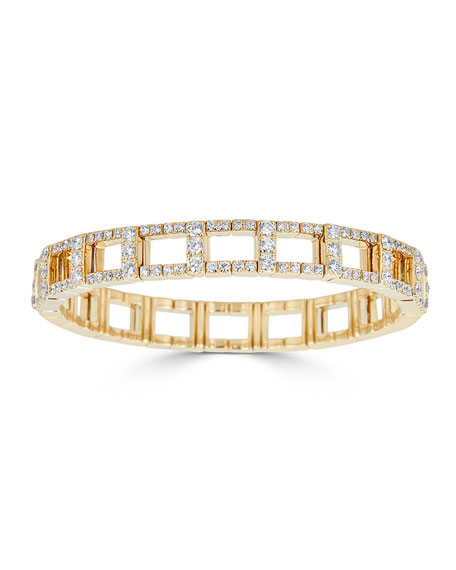 18k Yellow Gold Stretch Link Bracelet w/ Diamonds