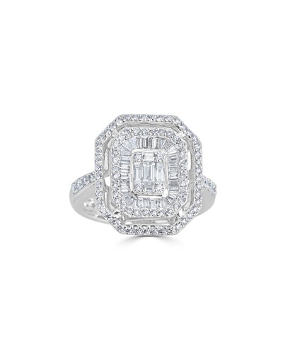 18k Mosaic Mixed-Cut Diamond Ring  Size 7