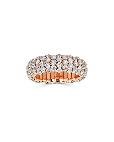 18k Rose Gold Diamond Stretch Ring, Size 6.5