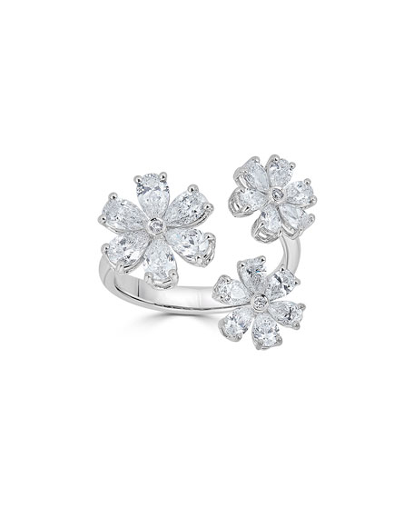18k Luminal Diamond Flower Open Ring