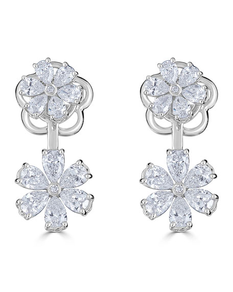 18k Luminal Diamond Flower Drop Earrings