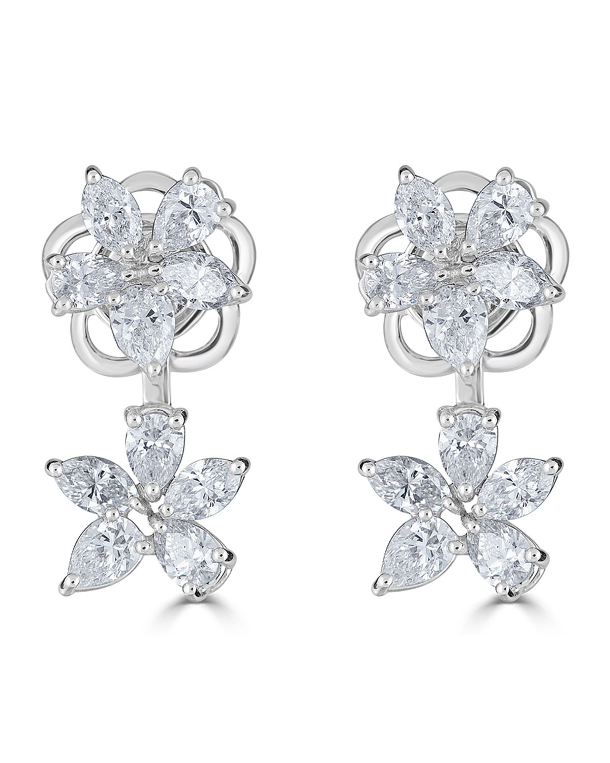 18k Luminal Diamond Flower Earrings