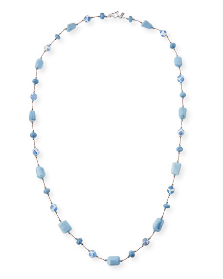 Opal & Agate Stone Necklace, Blue