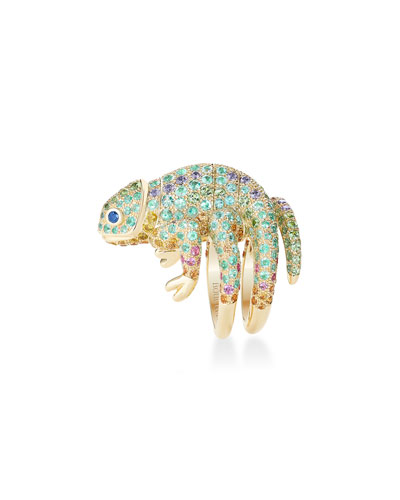 18k Tourmaline & Sapphire Chameleon Ring, Size 52