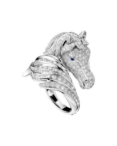 18k Diamond Pegase Horse Ring, Size 53