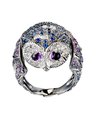 18k White/Blackened Gold Chouette Owl Ring, Size 50