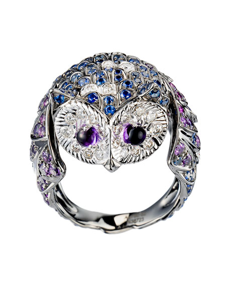Boucheron 18k White/Blackened Gold Chouette Owl Ring, Size