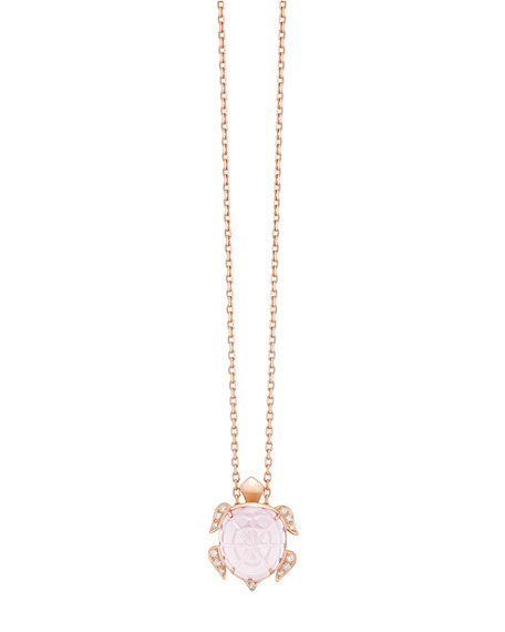 18k Pink Quartz Turtle Pendant Necklace