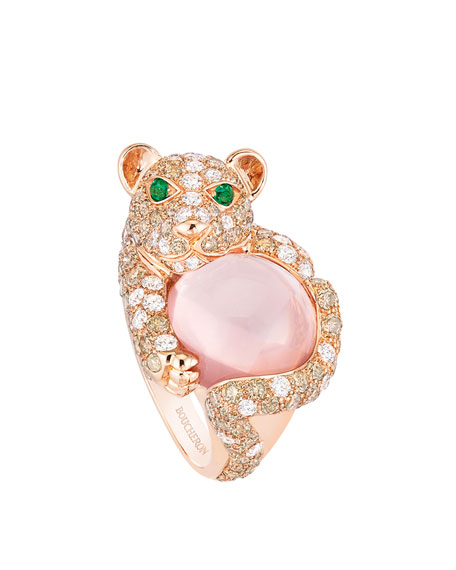 Boucheron 18k Diamond Lion Cub Ring, Size 52