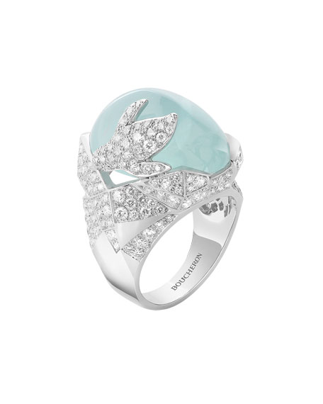 Boucheron 18k Penguin Ring w/ Aquamarine, Size 53
