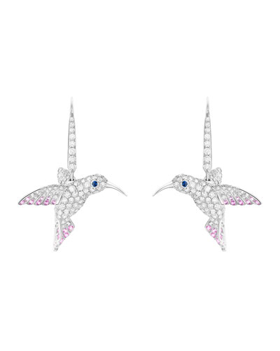 18k Diamond Hummingbird Sleeper Earrings