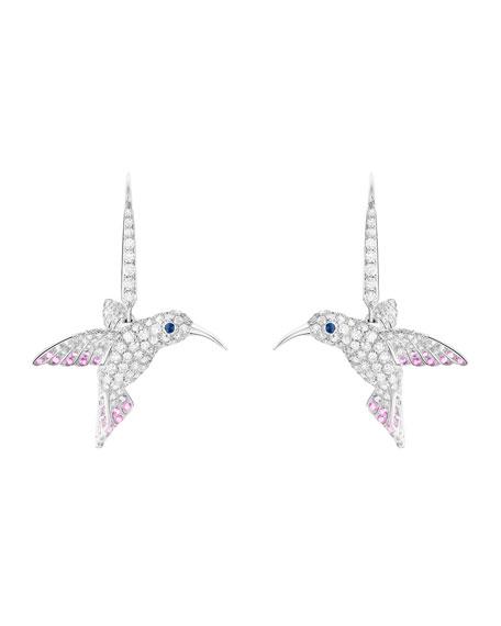 18k Diamond Hummingbird Sleeper Earrings