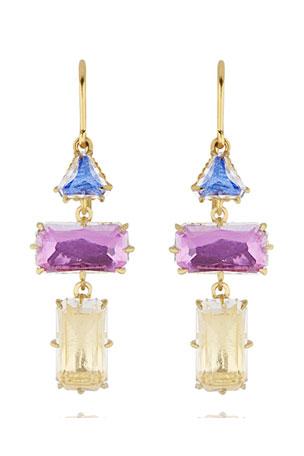 Larkspur & Hawk Caterina Baguette Triple-Drop Earrings, Multi