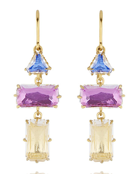 Caterina Baguette Triple-Drop Earrings, Multi