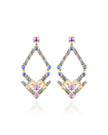 Caterina Trapezoid Chandelier Earrings, Multi