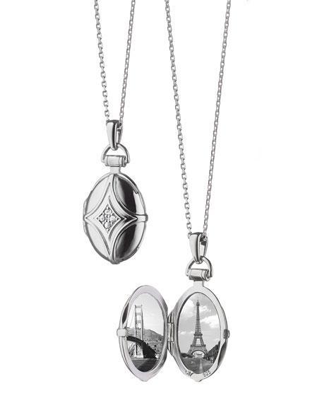 Monica Rich Kosann White Sapphire Quatrefoil Locket Necklace TH2jfC