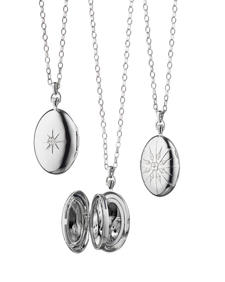 Monica Rich Kosann Sterling Silver Starburst Locket Necklace with White Sapphires OPAADPiOe5