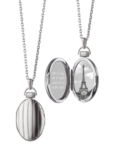 """1"""" Pinstriped Silver Oval Locket Necklace"""