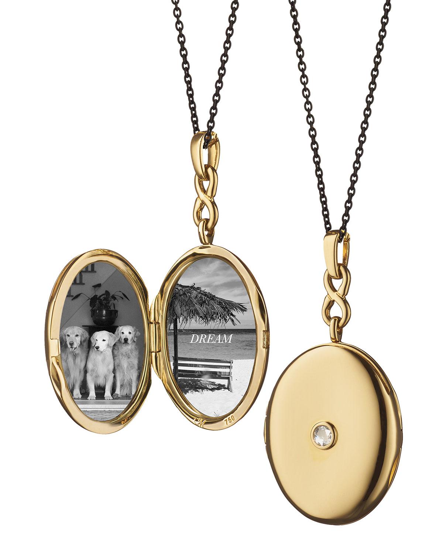 f32b52c9a3385 Monica Rich Kosann 18K Gold Locket Necklace with Diamond Center ...