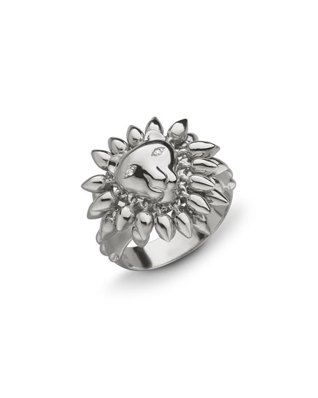 Monica Rich Kosann Sterling Silver Lion Courage Ring