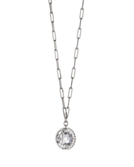 XL Carpe Diem White Sapphire Charm Necklace in Sterling Silver