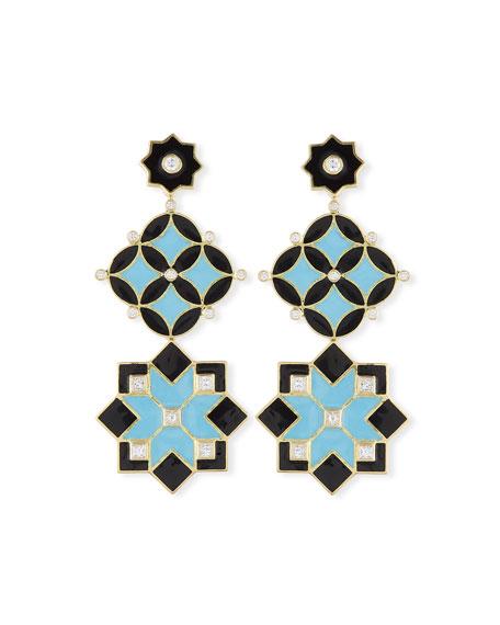 18k Gold Mosaic Disc Star Enamel Drop Earrings