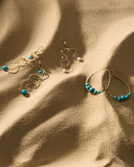 18k Gold Nova Pear Drop Earrings w/ Turquoise