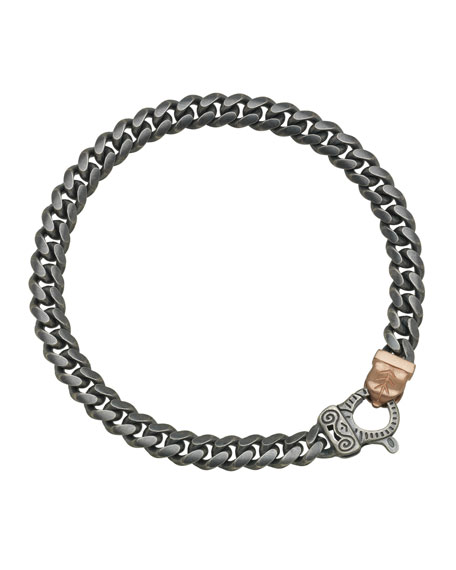 Men's Flaming Tongue Oxidized Silver Chain Bracelet w/ 18k Pink Gold-Plate Clasp