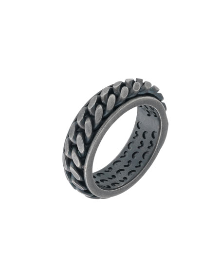 Men's Lash Oxidized Silver Chain Band Ring, Size 10