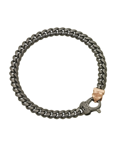 Men's Flaming Tongue Burnished Silver Chain Bracelet w/ 18k Pink Gold-Plate Clasp
