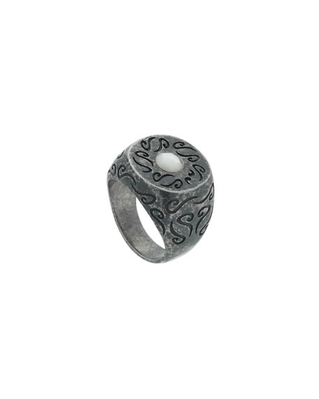Men's Round Oxidized Silver Ring with Pearl, Size 10.5