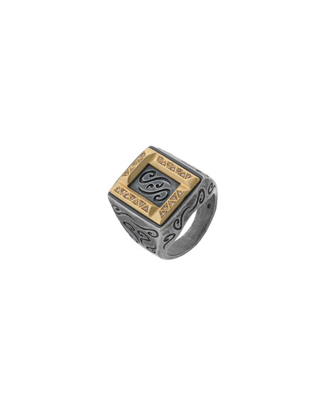 Men's Ara Rectangular Ring w/ Diamonds, Size 10.5