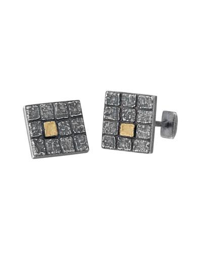 Square Oxidized Silver Cuff Links w/ 18k Gold