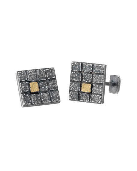 Square Oxidized Silver Cuff Links w/ 18k Gold