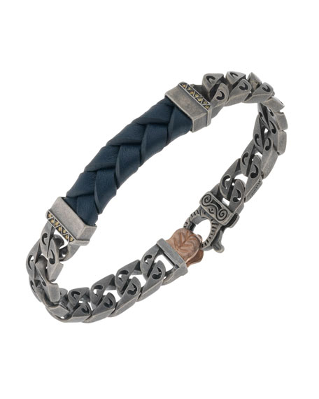 Men's Woven Leather/Silver Chain Bracelet w/ 18k Gold-Plated Clasp, Blue