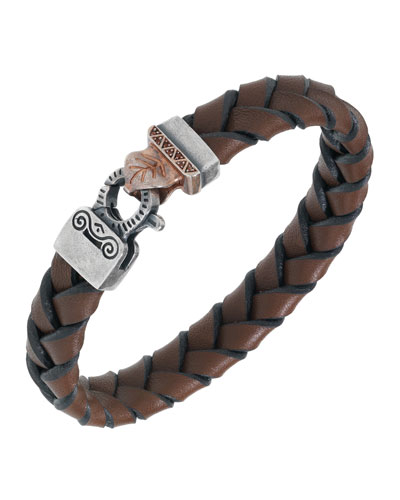Men's Woven Leather Bracelet w/ 18k Gold-Plated Clasp, Brown