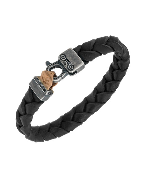 Men's Woven Leather Bracelet w/ Rose Gold-Plated Clasp, Black