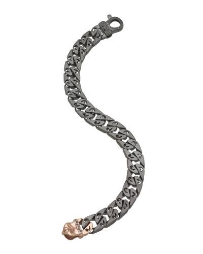 Men's Silver Chain Bracelet w/ 18k Pink Gold-Plate Clasp