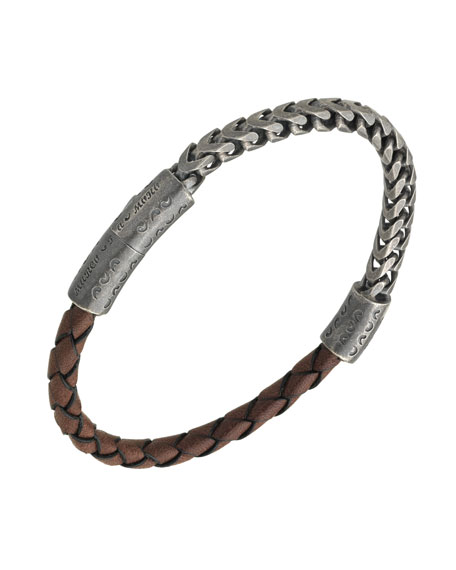Men's Sterling Silver & Leather Bracelet with Push-Lock, Brown
