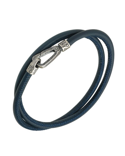 Men's Leather Double-Wrap Bracelet   Blue