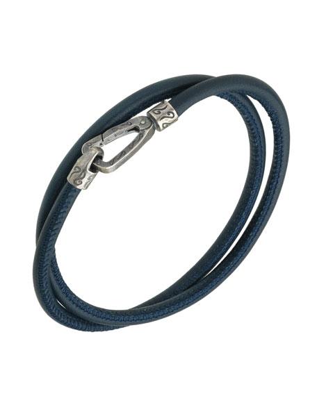 Men's Leather Double-Wrap Bracelet,  Blue