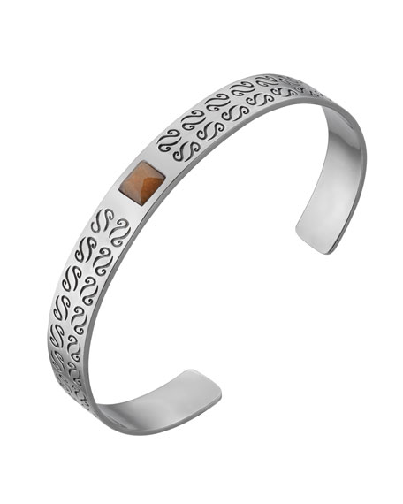 Men's Silver Kick Cuff Bracelet with Aventurine