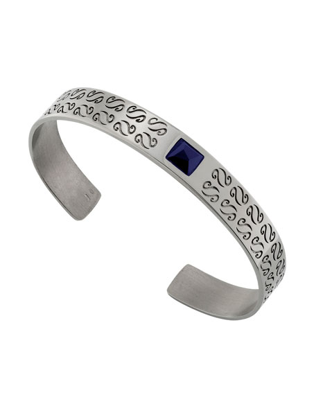 Men's Silver Kick Cuff Bracelet with Lapis
