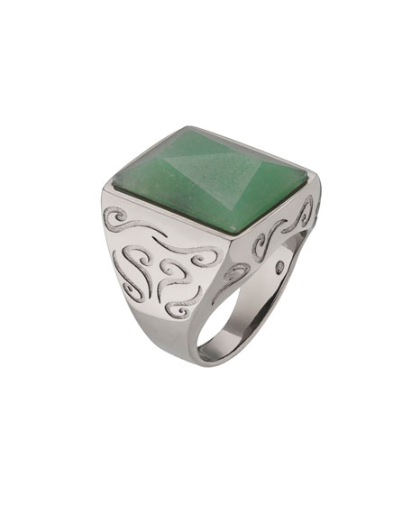 Men's Ara Pyramid Ring with Green Aventurine, Size 10