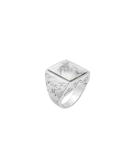 Marco Dal Maso Mens Square Silver Ring with White Howlite, Size 9.5