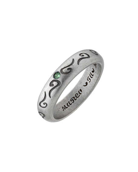 Men's Silver Band Ring with Green Sapphire, Size 10