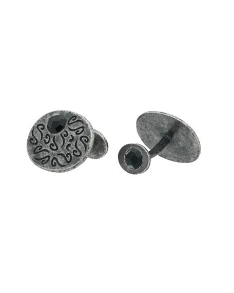 Ara Round Oxidized Silver Cufflinks w/ Onyx